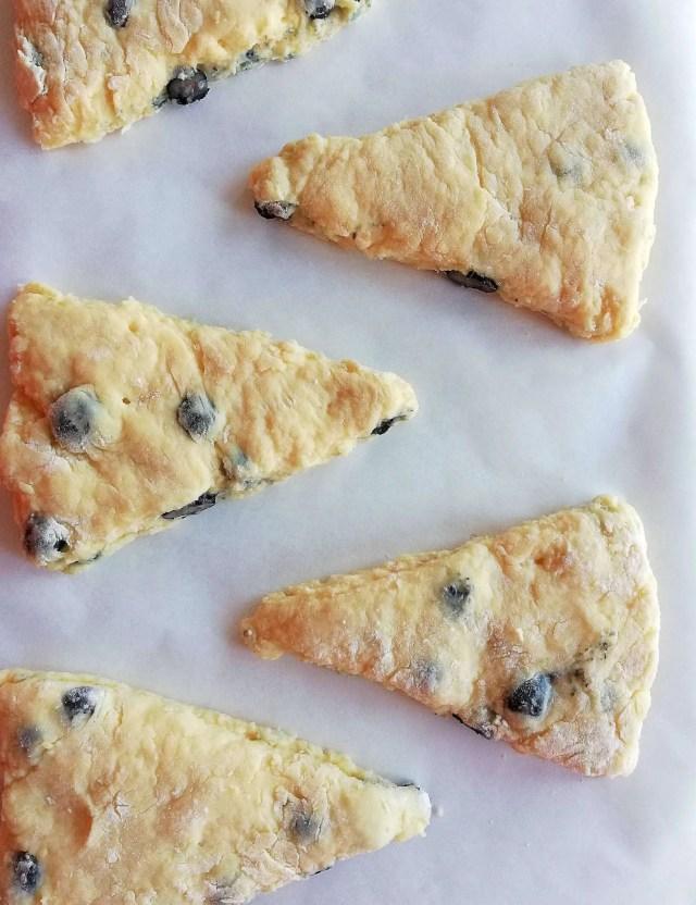 blueberry scones on baking sheet