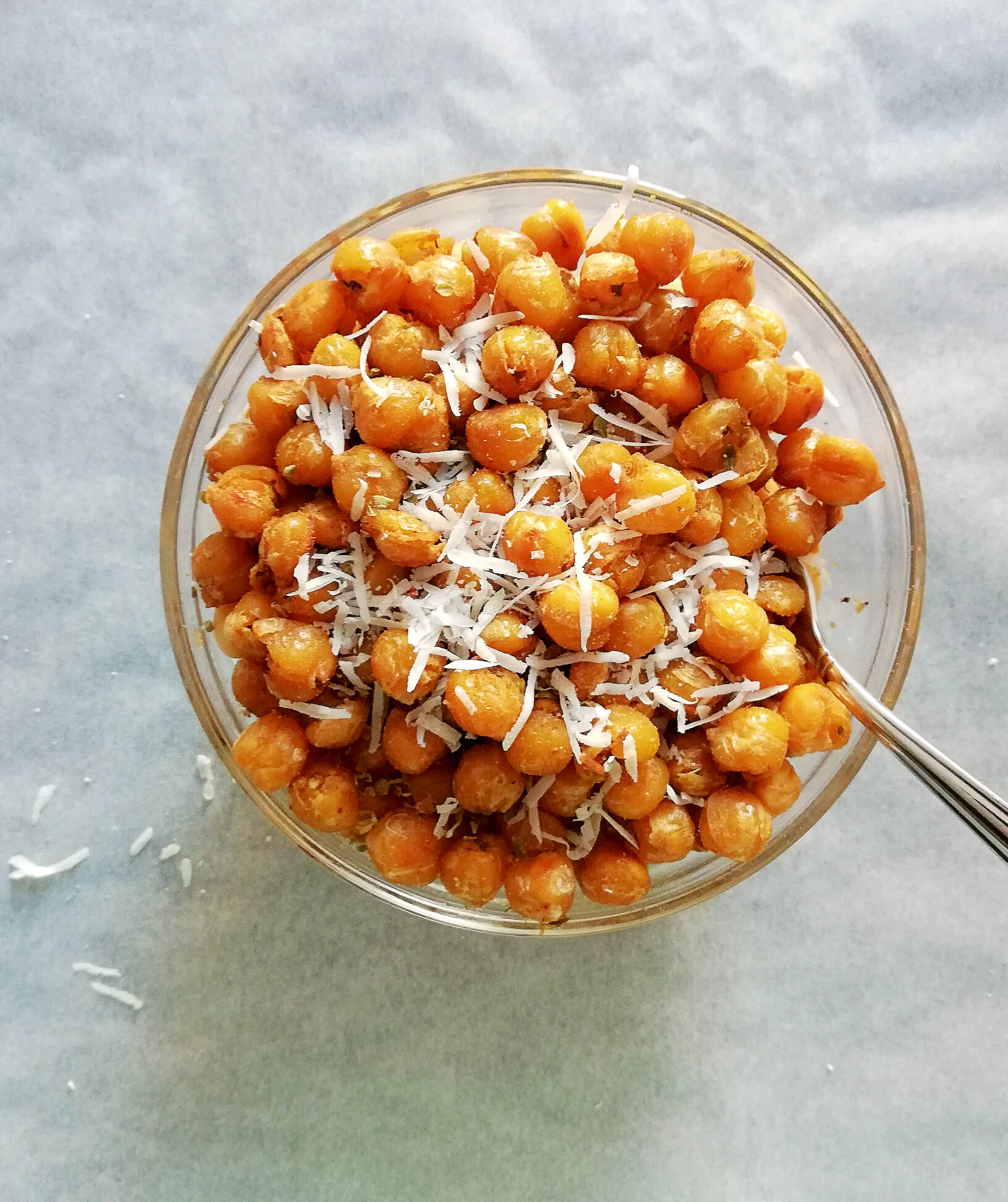italian roasted chickpeas with cheese