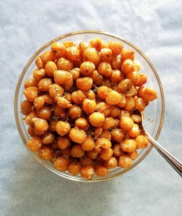 italian roasted chickpeas overhead