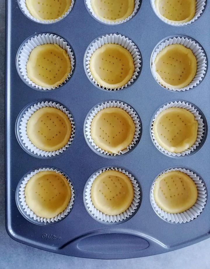 mini tart crust in muffin tin