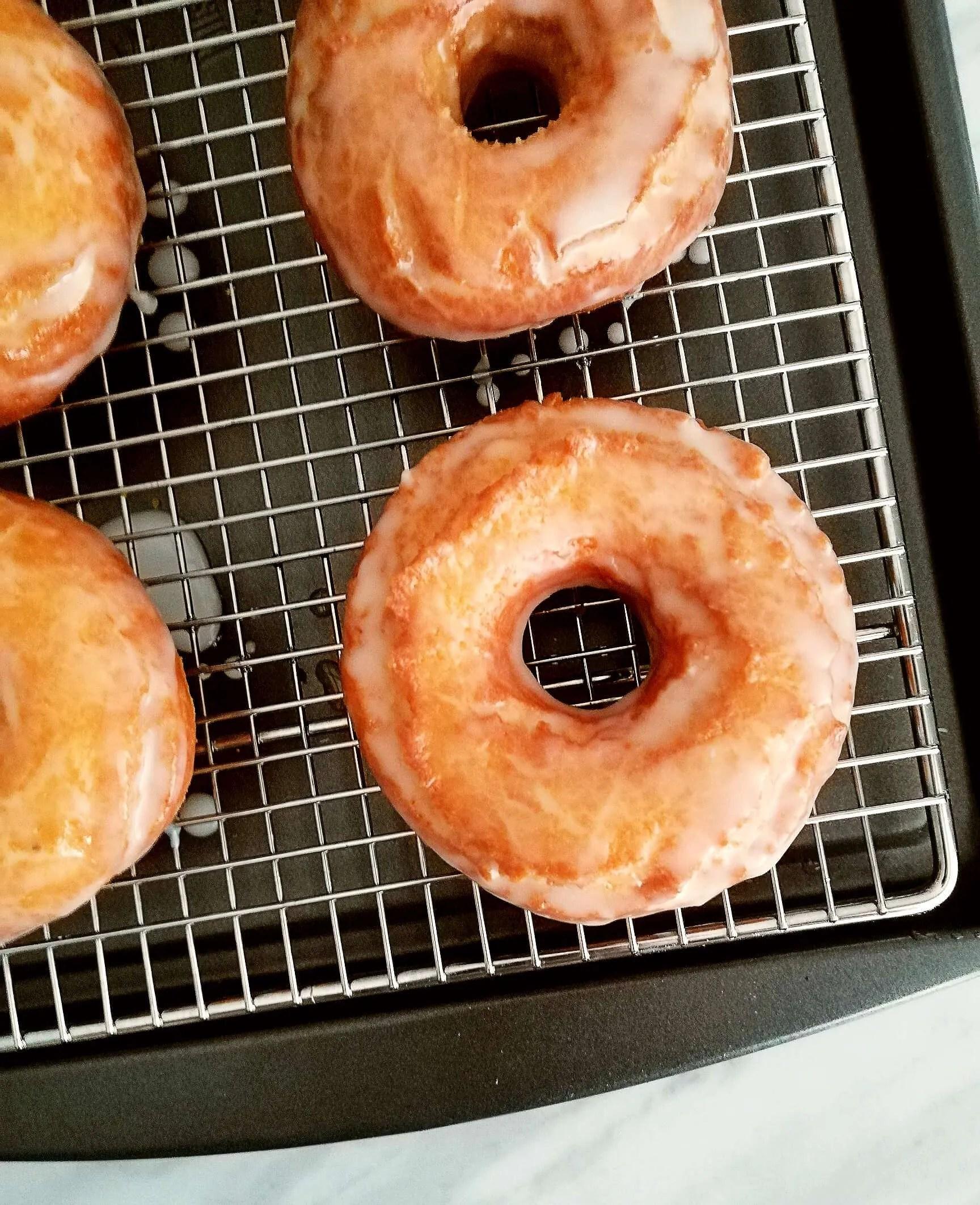 sour cream glazed donuts glazed overhead