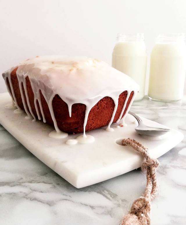 sour cream pound cake topped with simple glaze