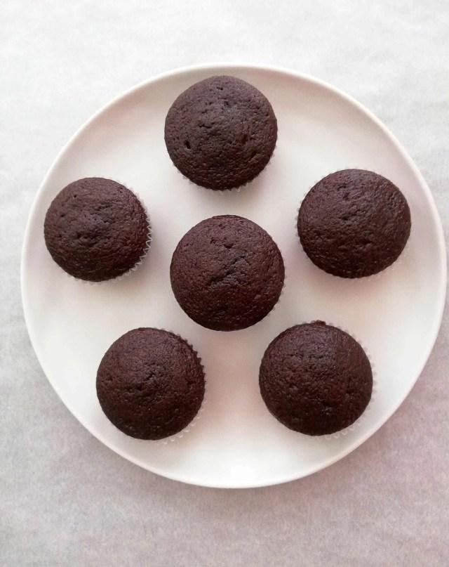 chocolate cupcakes plated