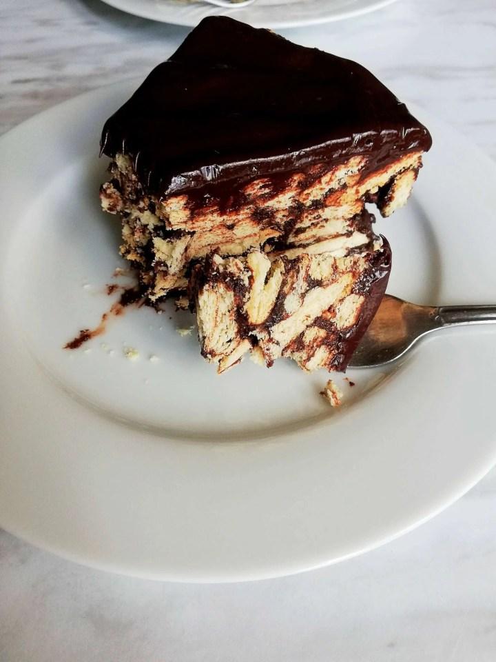 chocolate lazy cake slice bite