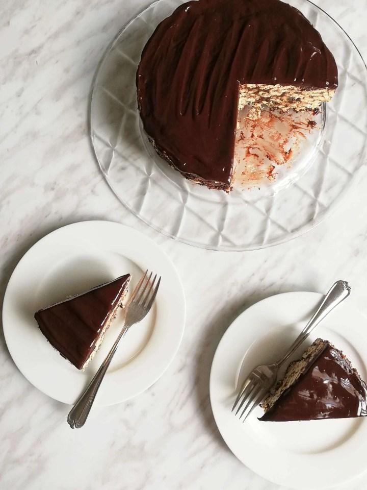chocolate lazy cake slices overhead