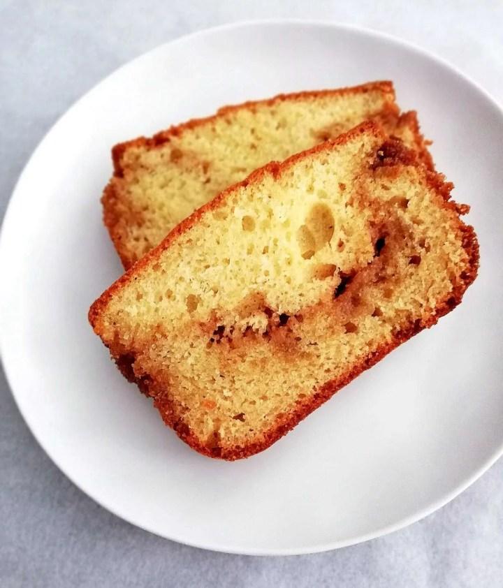 cinnamon swirl quick bread in plate