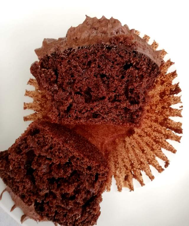 frosted chocolate cupcakes inside view