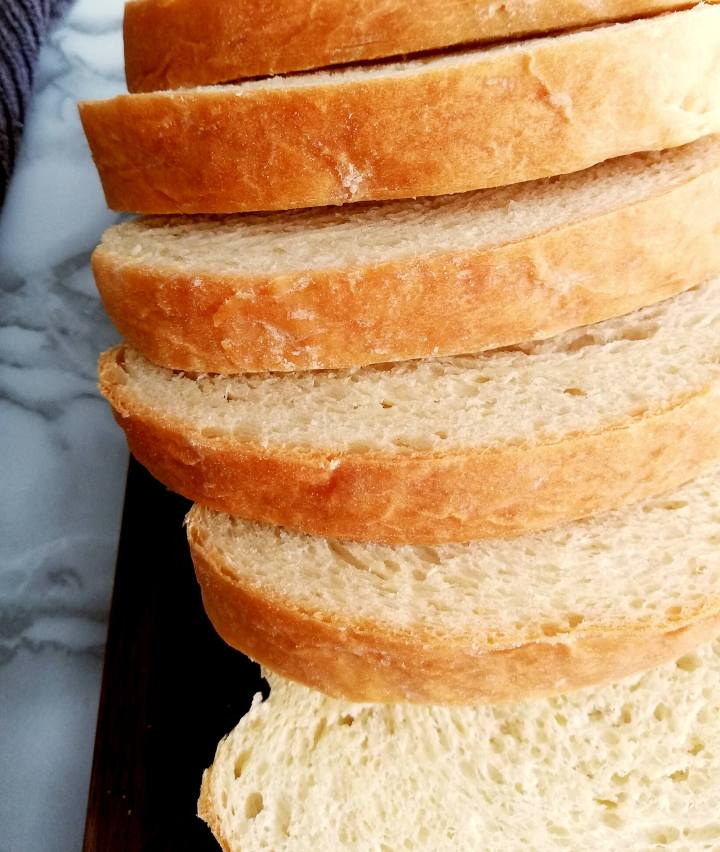 sandwich bread slices fanned out top view