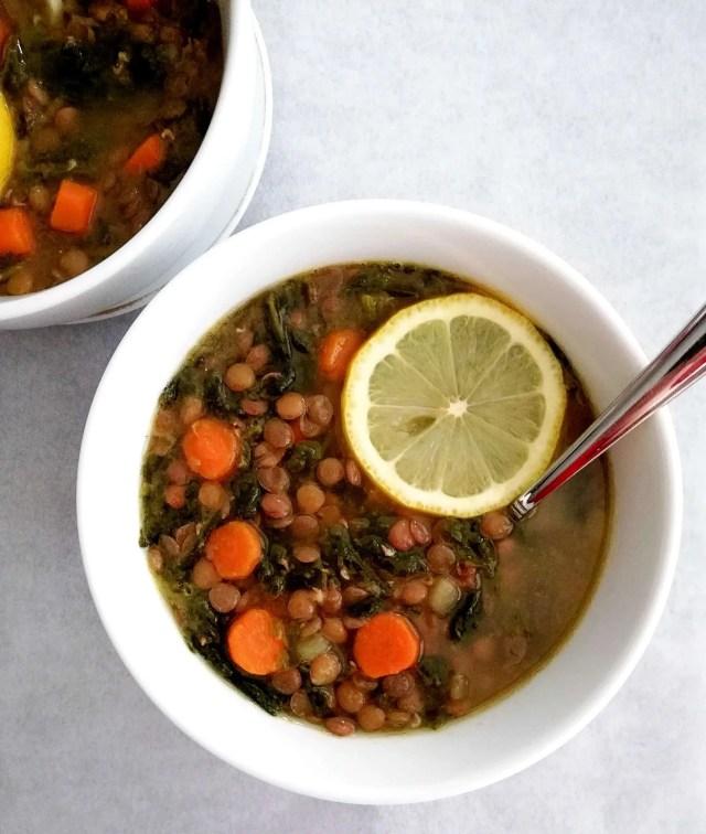 spinach lentil soup overhead close up