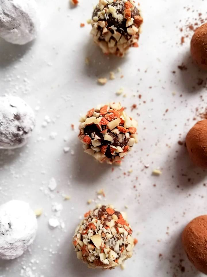 chocolate truffles rolled in nuts