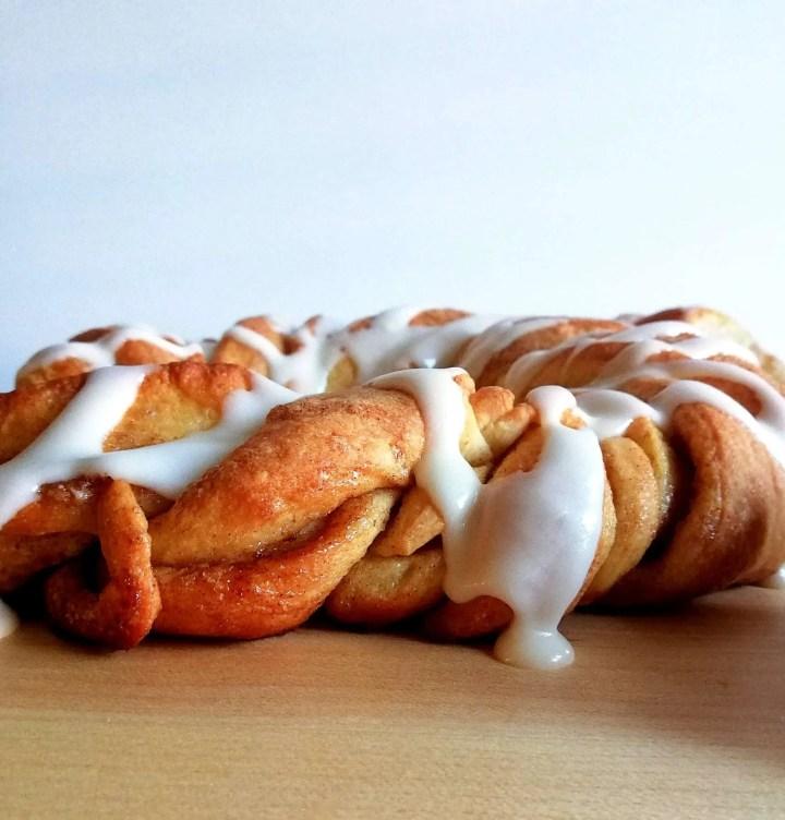 cinnamon swirl wreath bread side view