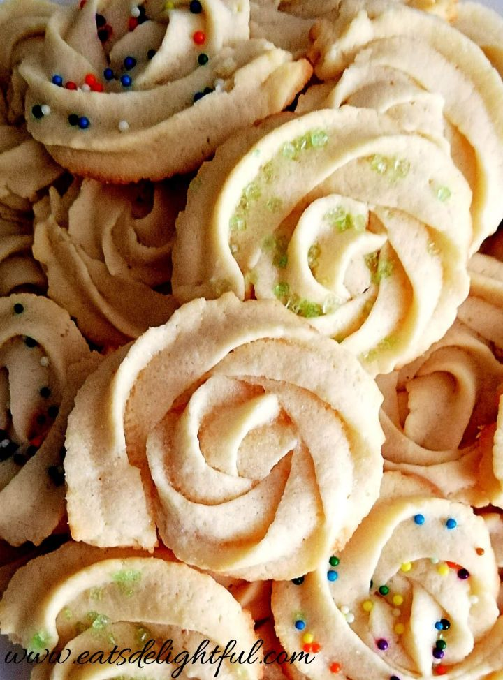 danish butter cookies baked close up