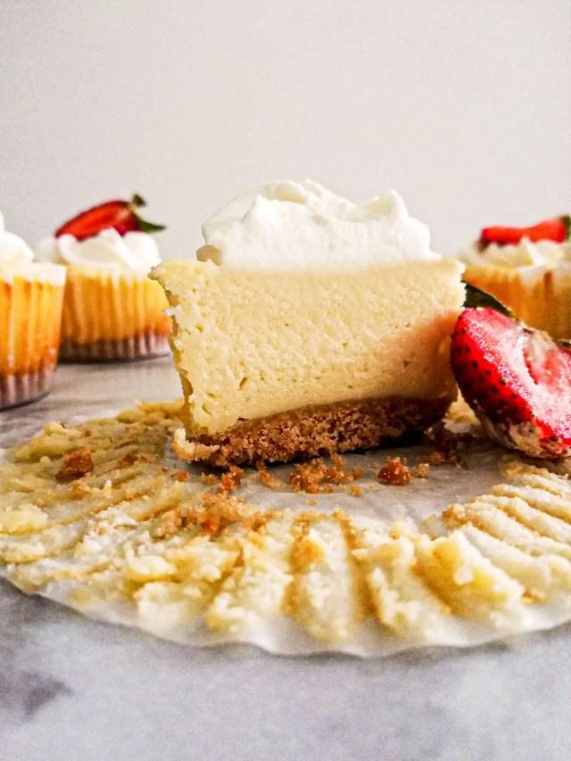 mini cheesecake sliced in half