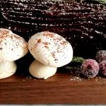 meringue mushrooms on buche de noel (1)