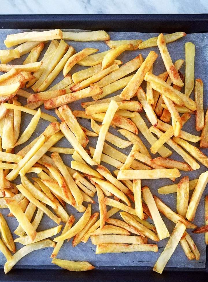 oven french fries on baking sheet overhead