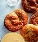 soft pretzels with cheese dip and salt