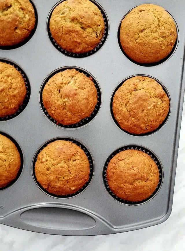 baked banana muffins close up