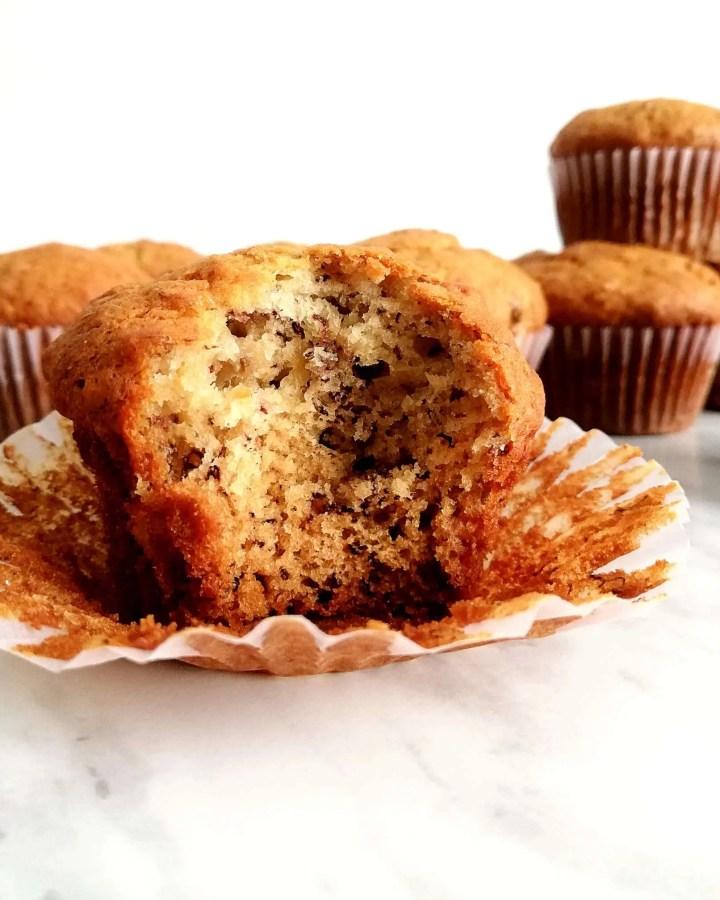 banana muffins inside view