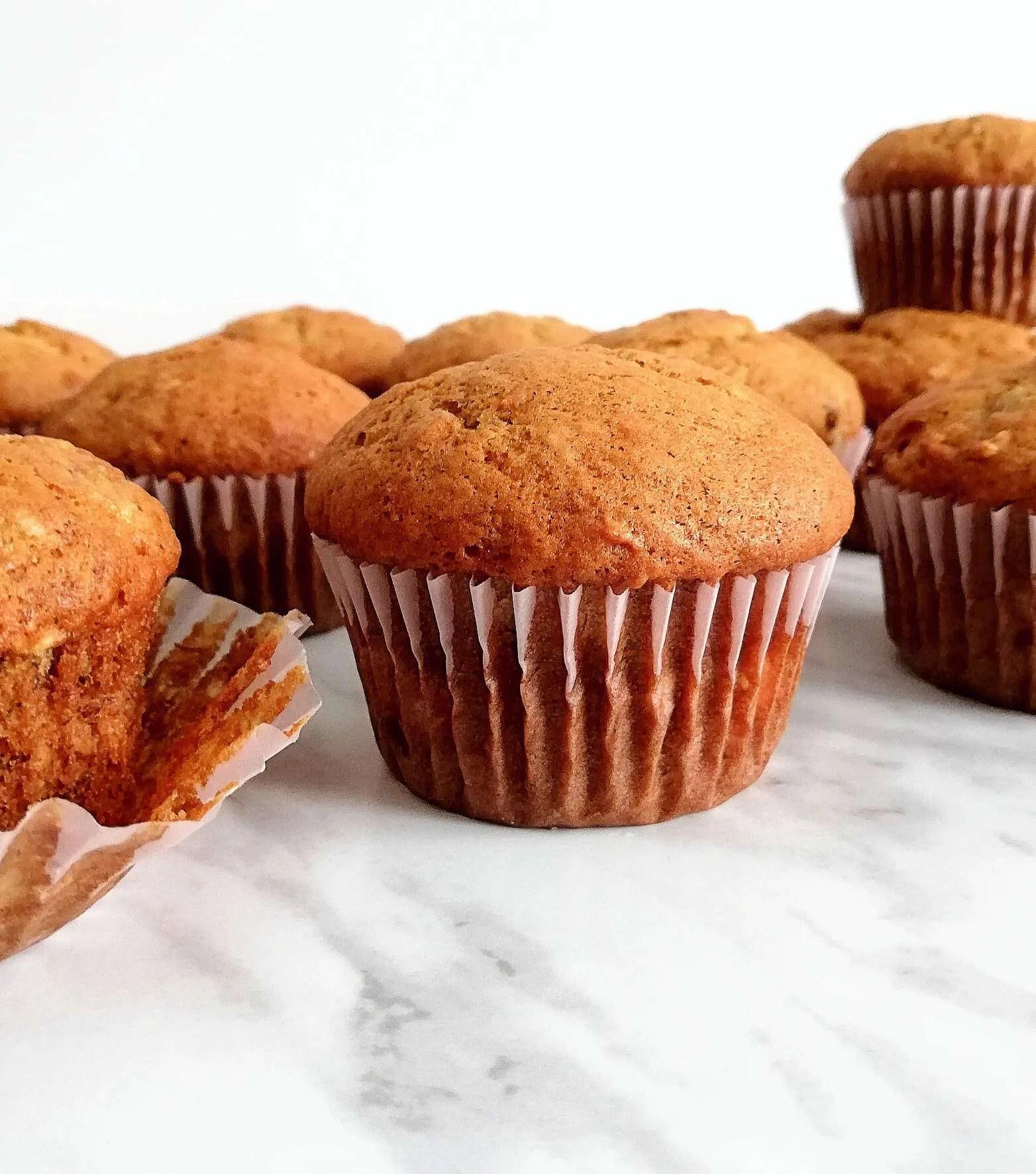 banana muffins side view 2