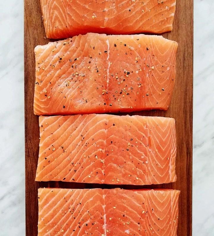 honey garlic salmon seasoned salmon with salt and pepper