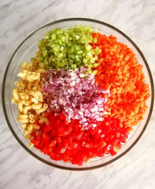 macaroni salad ingredients combined