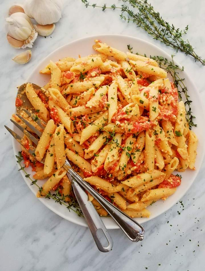 baked feta pasta in serving plate overhead
