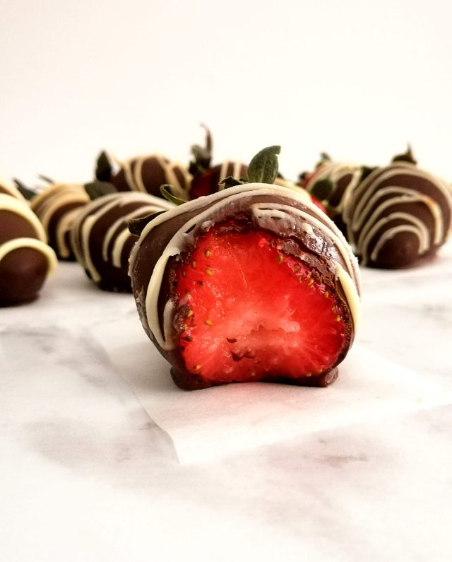 chocolate covered strawberries inside view