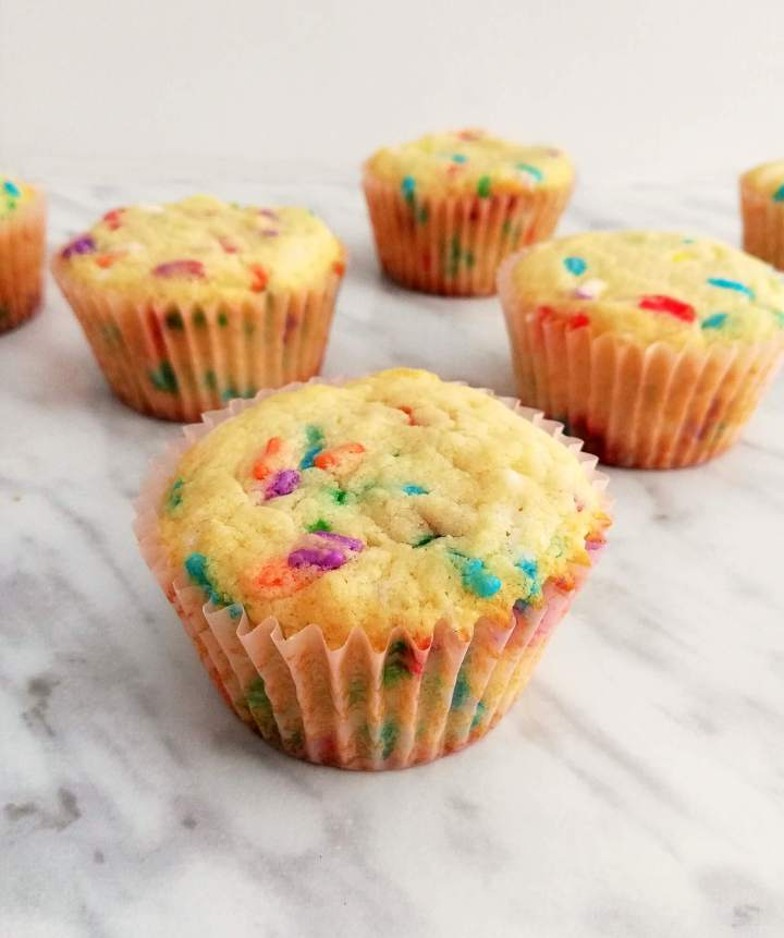 funfetti cupcakes baked and out of muffin tin