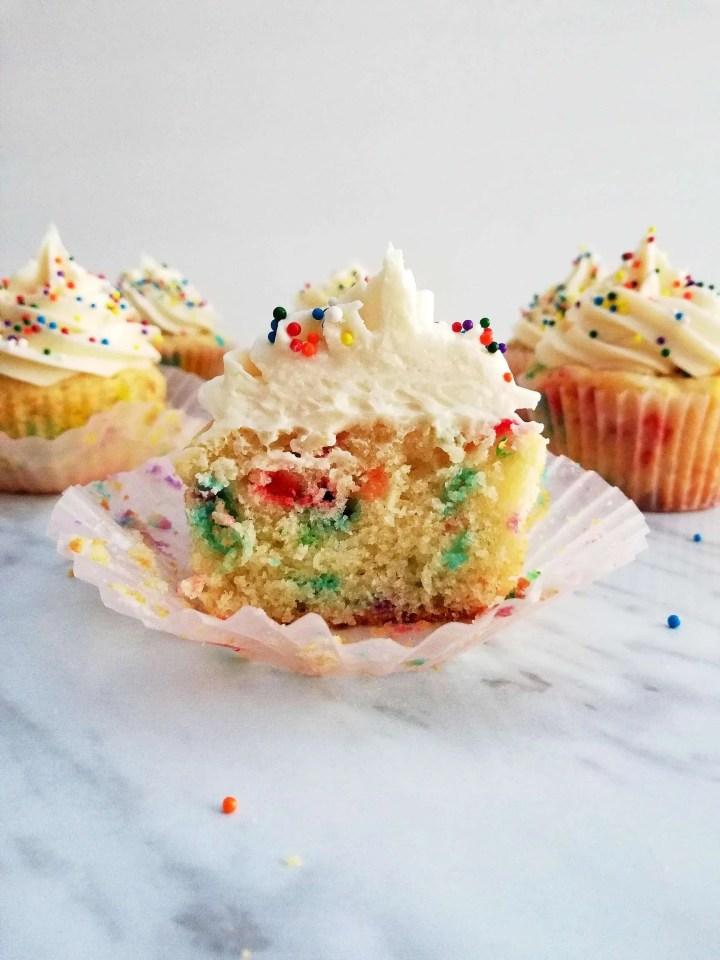 funfetti cupcakes halved head on photo