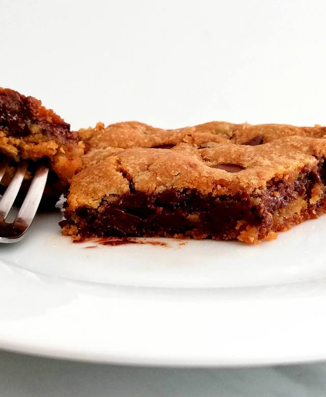 giant Nutella stuffed chocolate chip cookie piece from slice