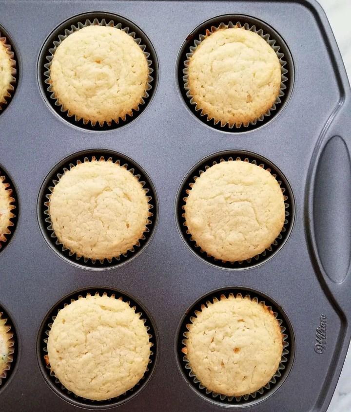 sour cream vanilla cupcakes baked overhead