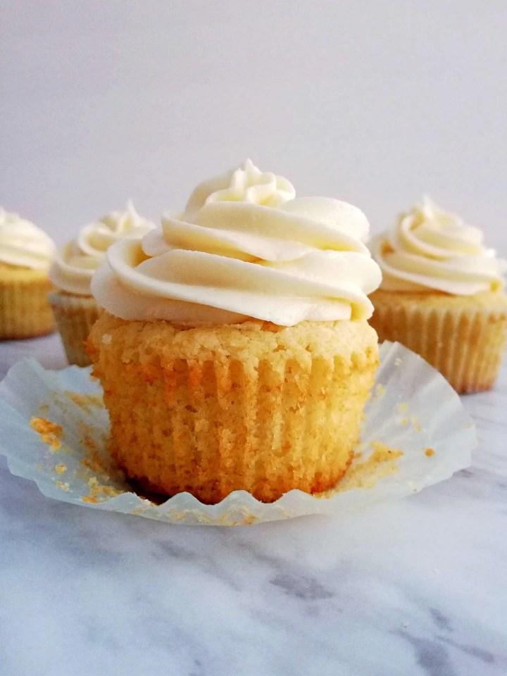 sour cream vanilla cupcakes unwraped head on view