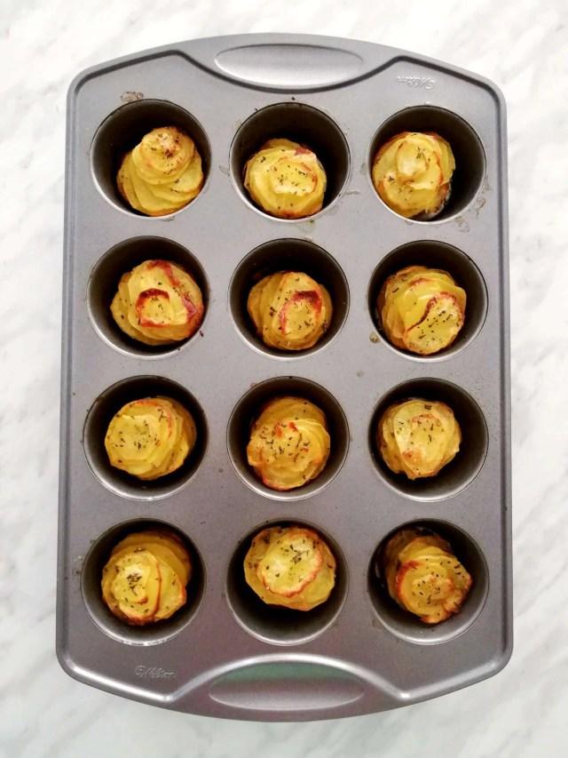potato stacks in muffin tin baked