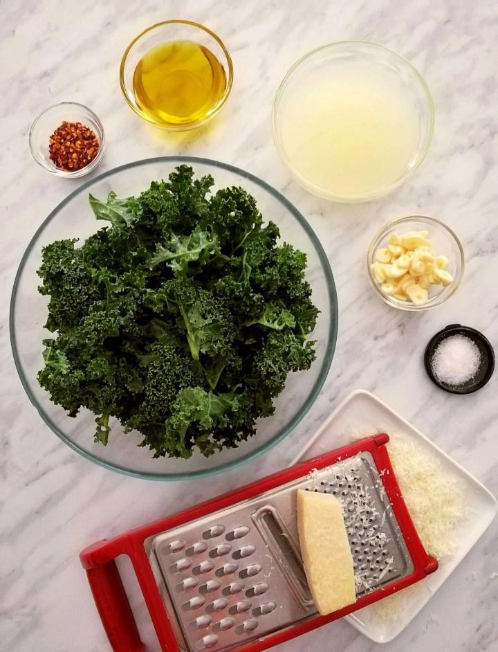 spicy kale pasta ingredients