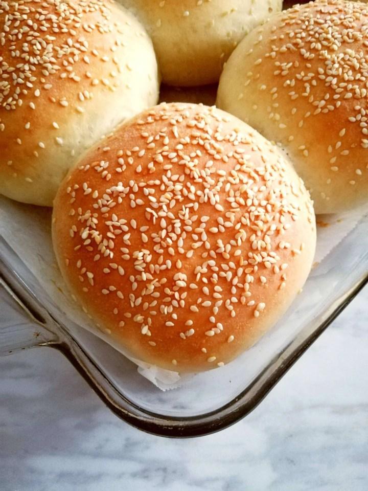 hamburger buns baked and in baking dish close up of bun (1)