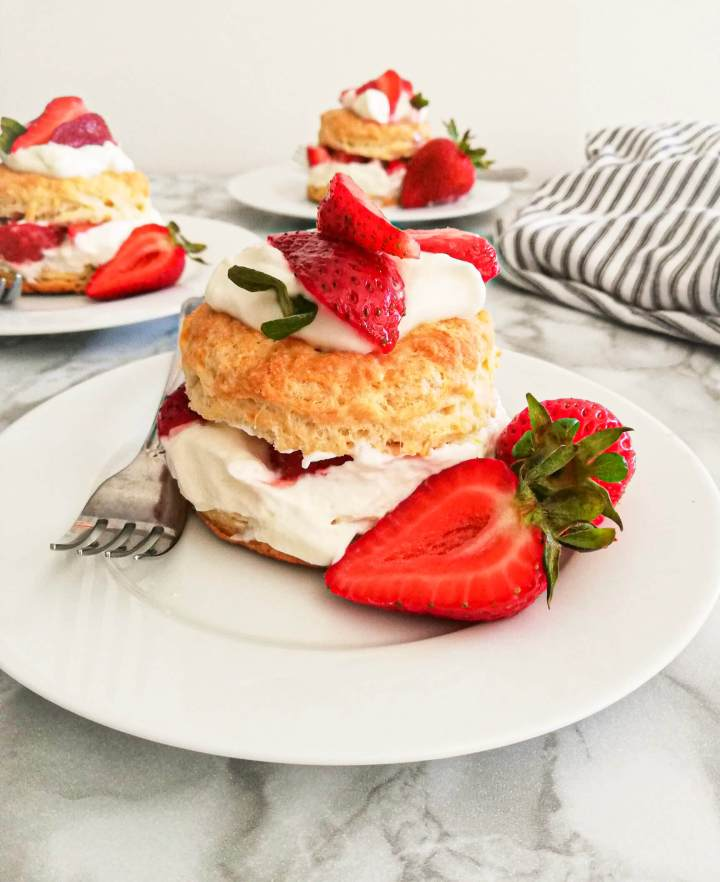 strawberry shortcake in plate head on view close up