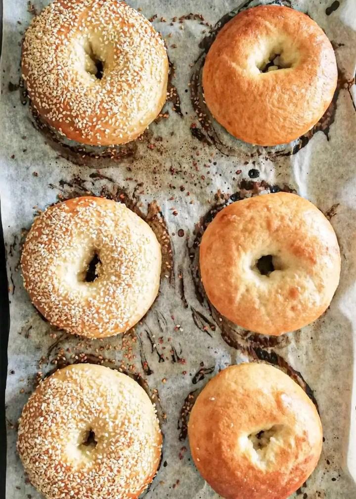 homemade bagels baked on baking sheet