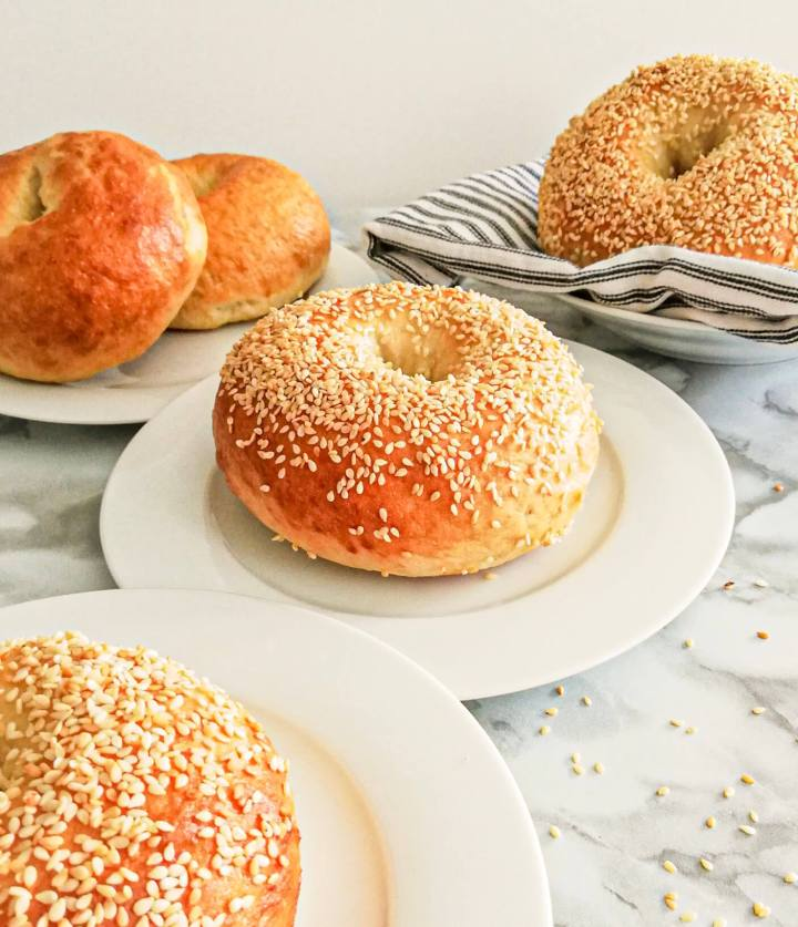 homemade bagels in plates