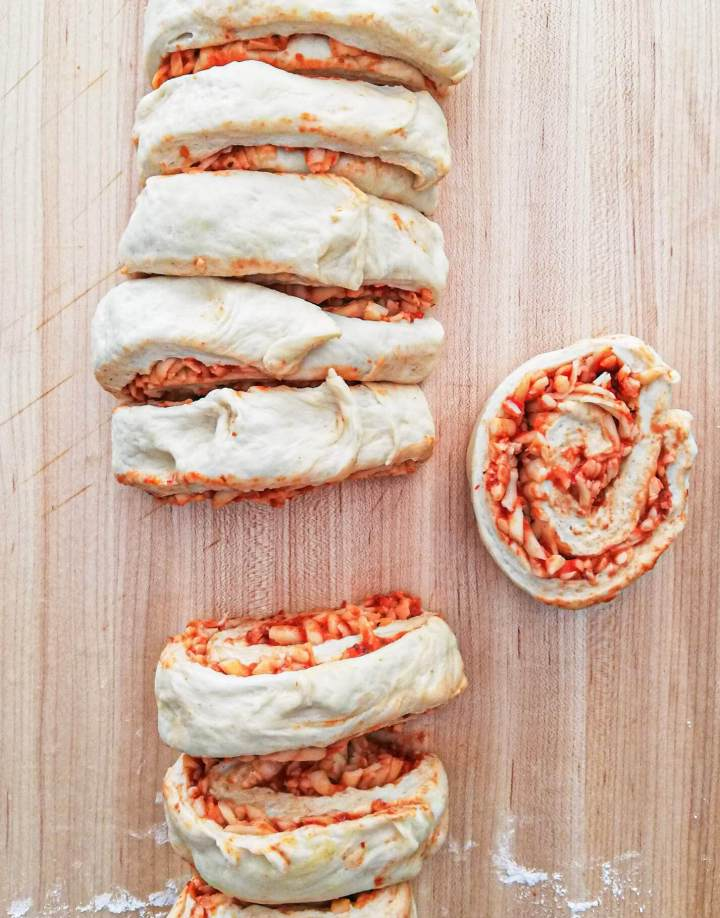 pizza rolls dough rolled and cut into rolls