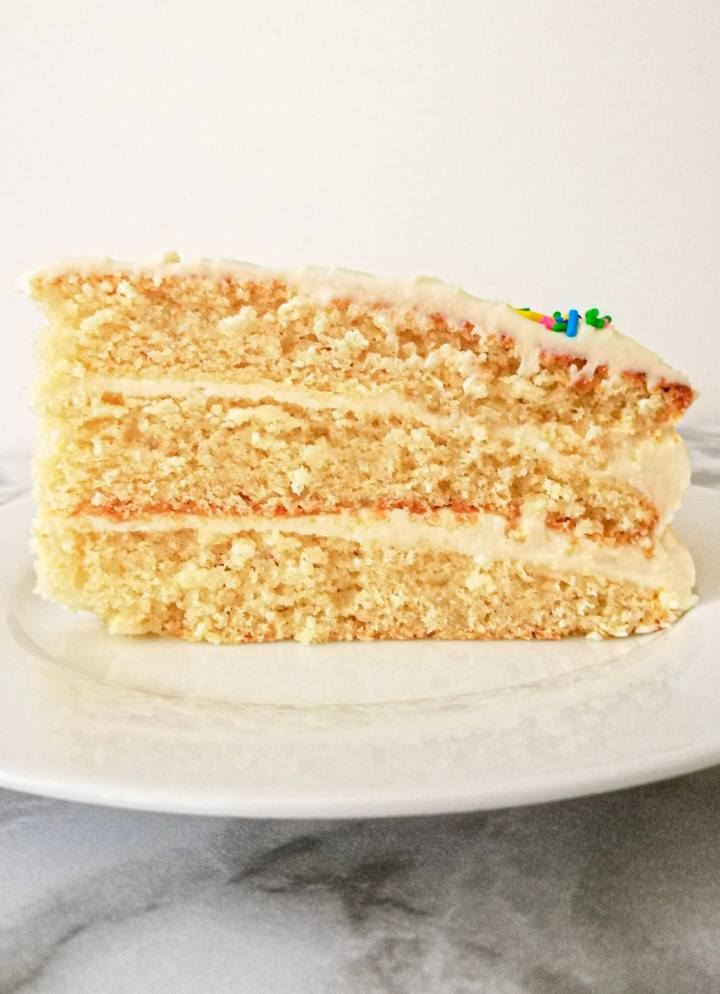vanilla birthday cake without a cake pan slice in plate