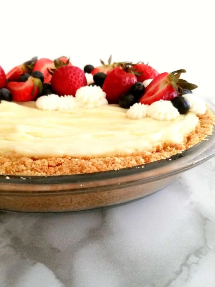 no bake fruit tart assembled side view close up