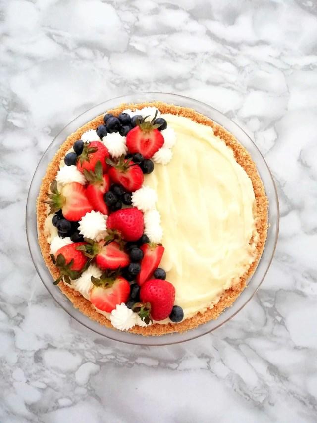 no bake fruit tart overhead