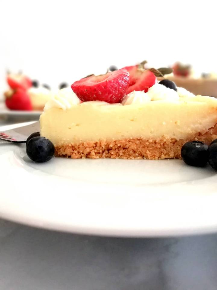 no bake fruit tart slice in plate side view close up view