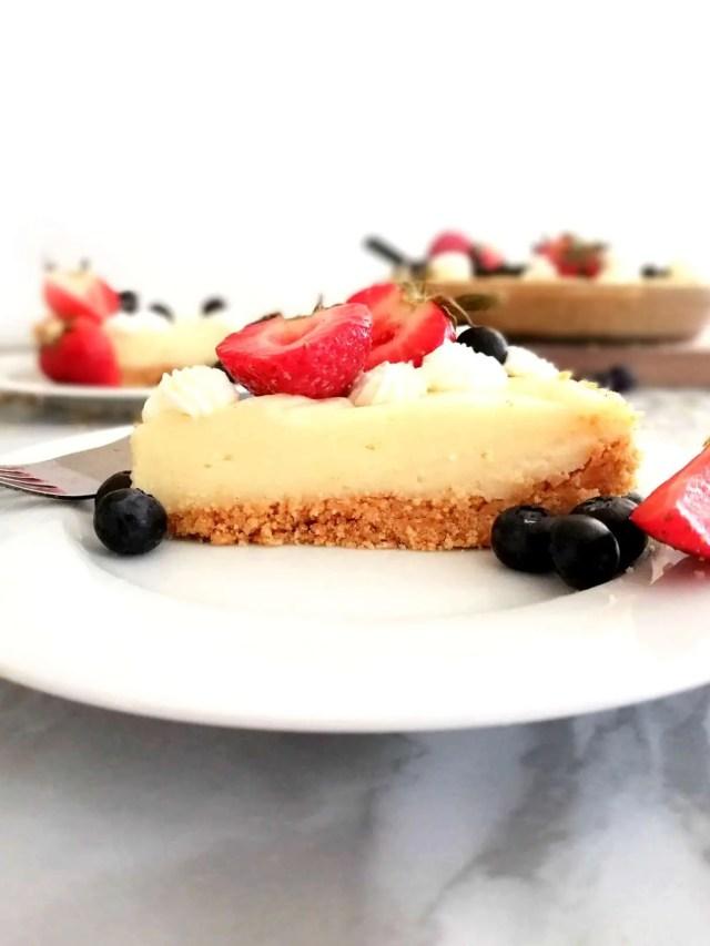no bake fruit tart slice in plate side view