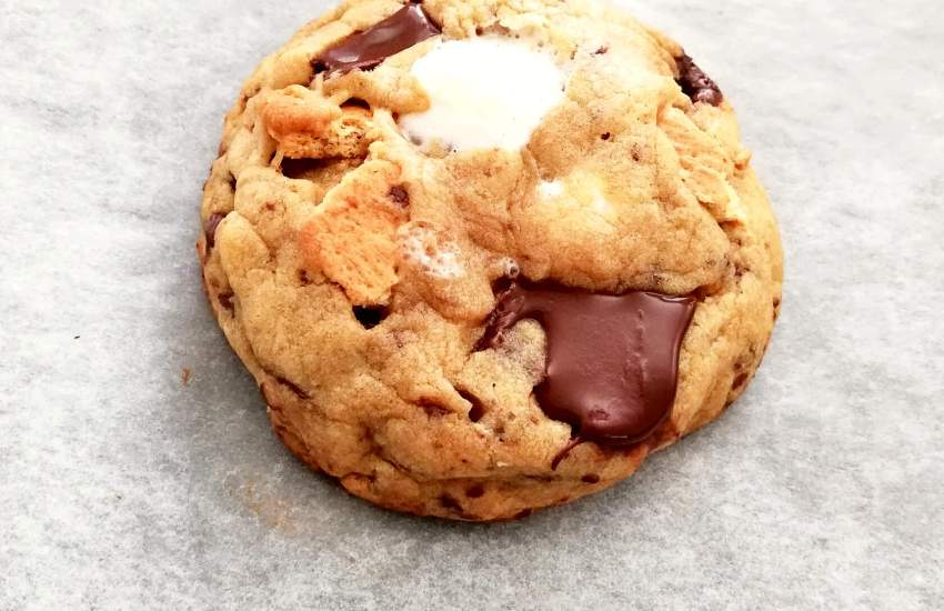 s'mores cookie on baking sheet side view image