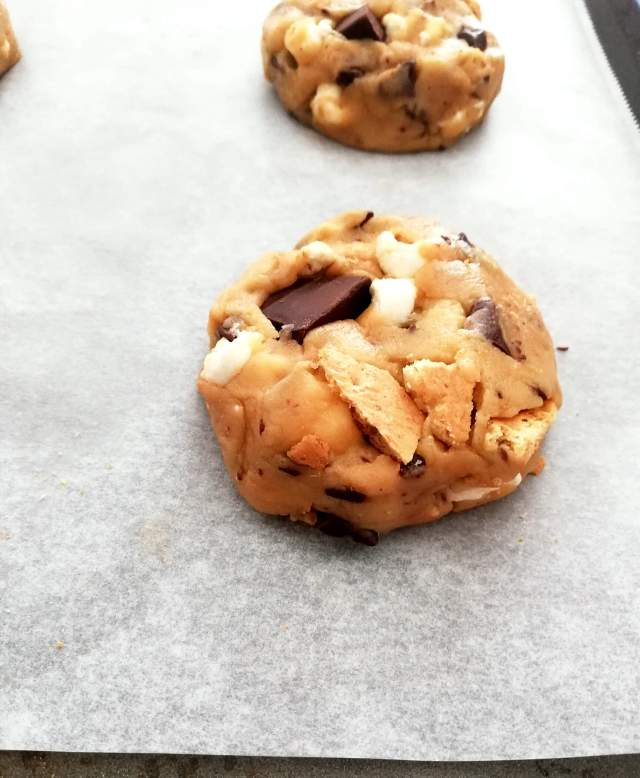s'mores cookie on baking sheet side view