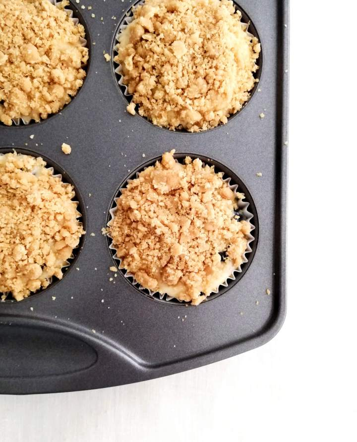 blueberry muffins with streusel topping muffin batter in tin topped with streusel