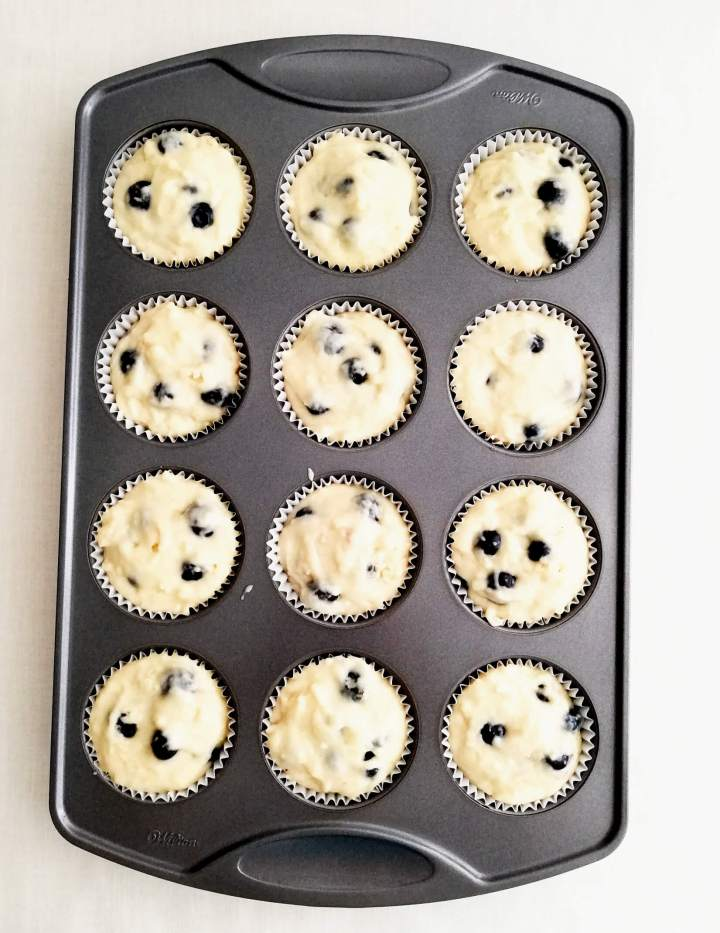 blueberry muffins with streusel topping muffins batter scooped into tin overhead image