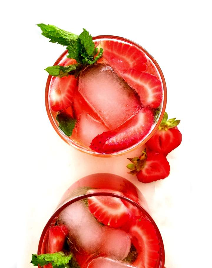 strawberry cooler overhead image of glass filled with cooler