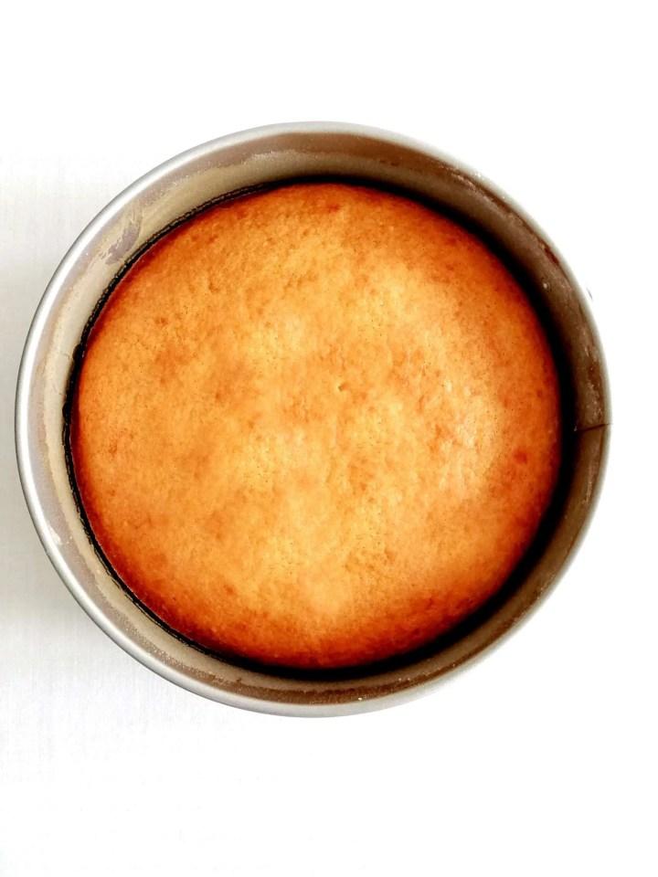 coconut jam cake in cake pan overhead view